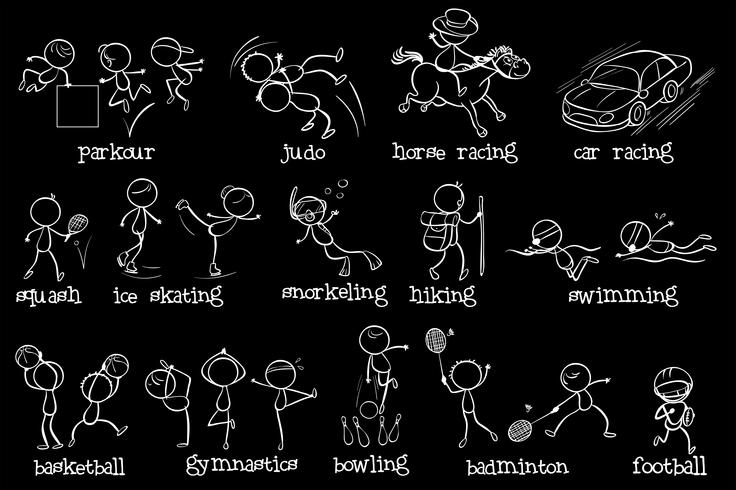 Doodle design av de olika sporterna