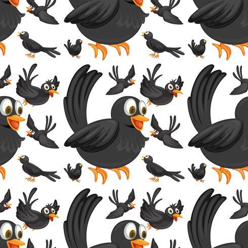 Pájaros negros sin costura volando vector