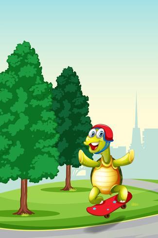 Sköldpadda som spelar skateboard på parken