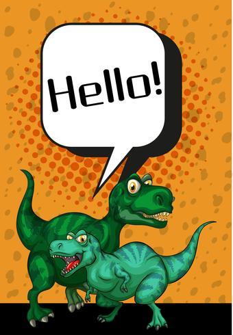 Dois T-Rex dizendo olá em cartaz