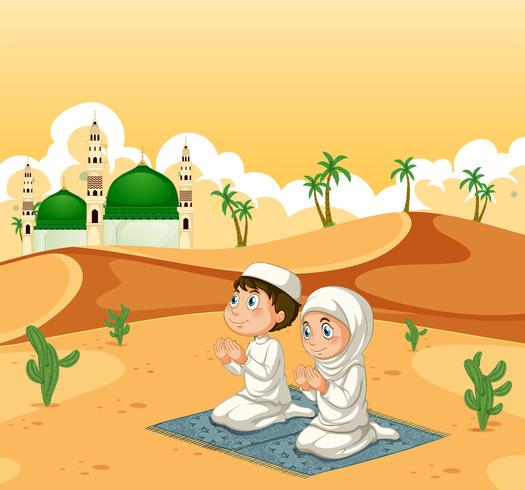 Um, muçulmano, par, em, deserto