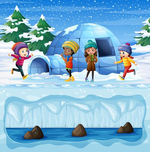 Young Girls Playing in front of Igloo
