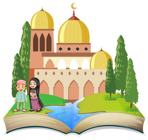 Niños musulmanes en libro abierto vector