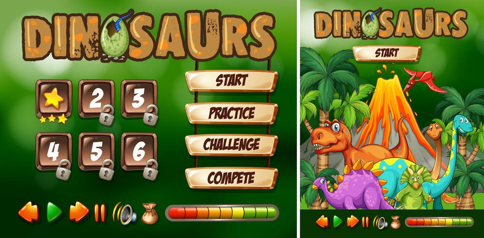 Game template with dinosaur theme vector