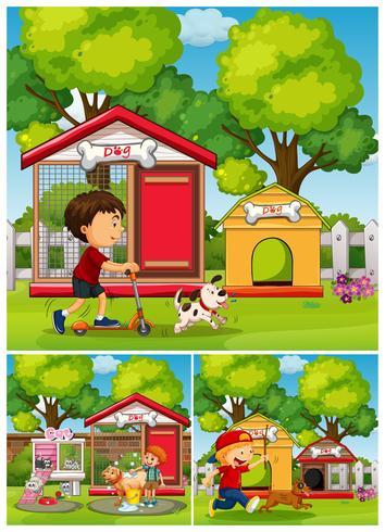 Chicos y perros en el parque. vector