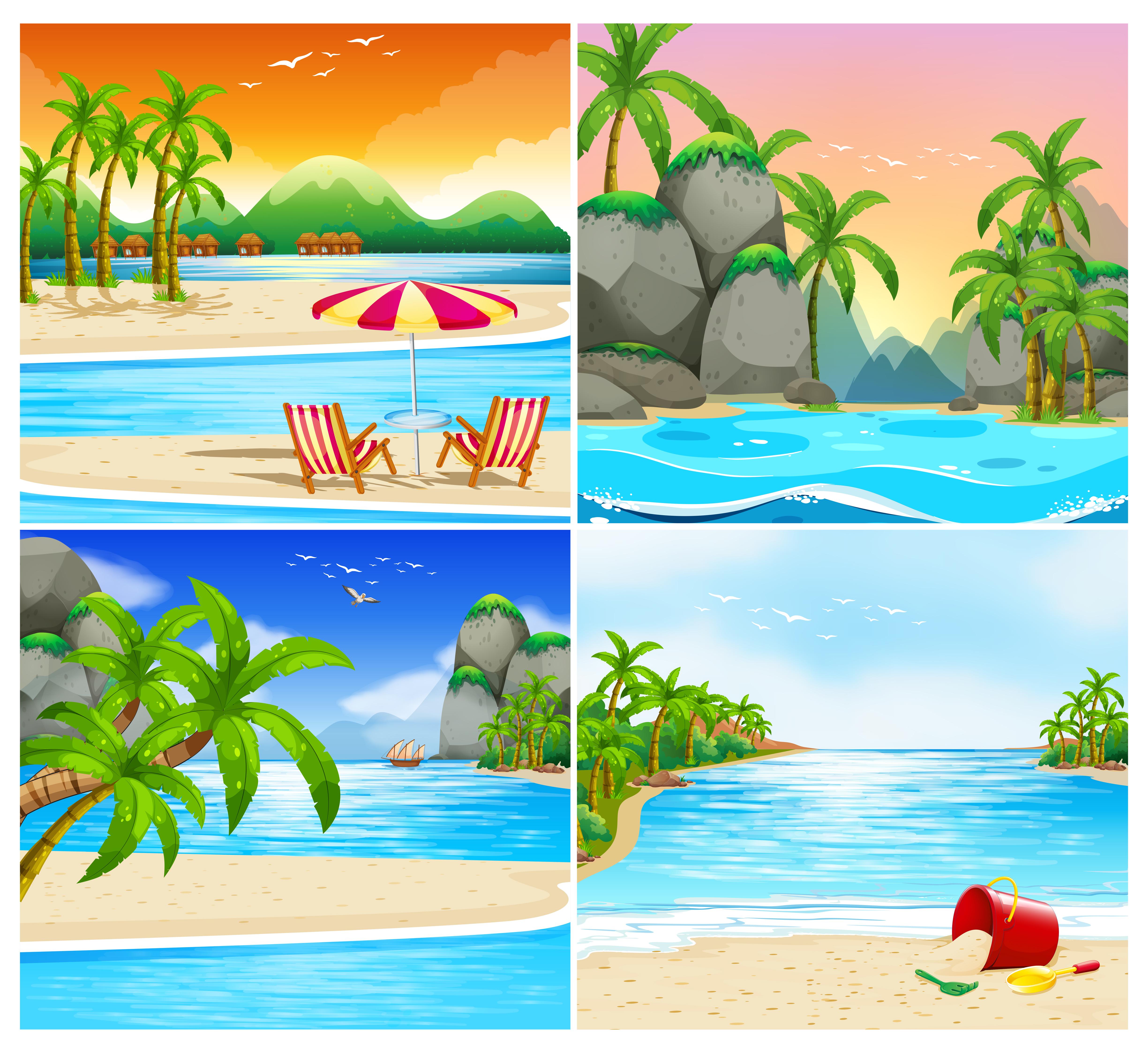 Island Beach Scenes: Four Scene Of Beach And Island