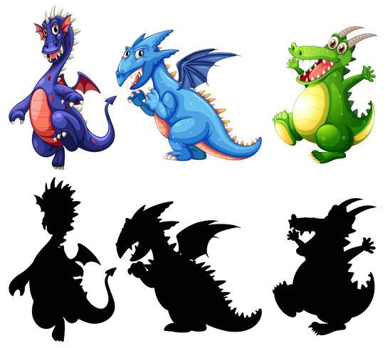 Diseño diferente de conjunto de dinosaurio.