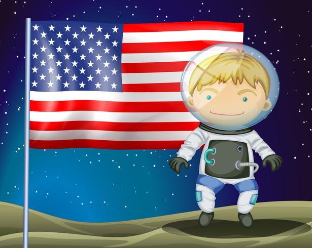 Een ontdekkingsreiziger naast de vlag van Amerika
