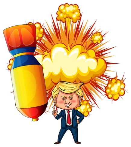 US president Trump with atomic bomb in background