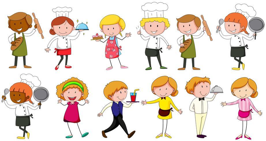 Verschillende beroepen die in restaurant werken