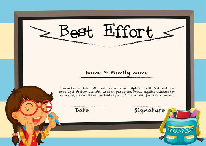 Diploma template with girl and board