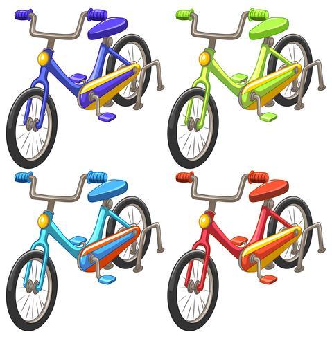 Bicicleta en cuatro colores diferentes. vector