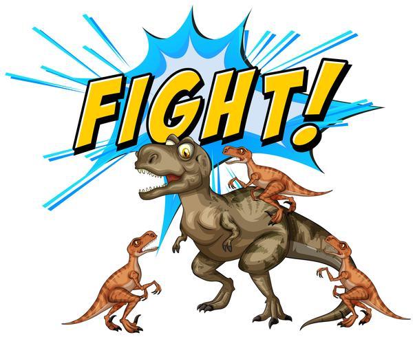 Un vuelo de dinosaurios cómicos sobre fondo blanco