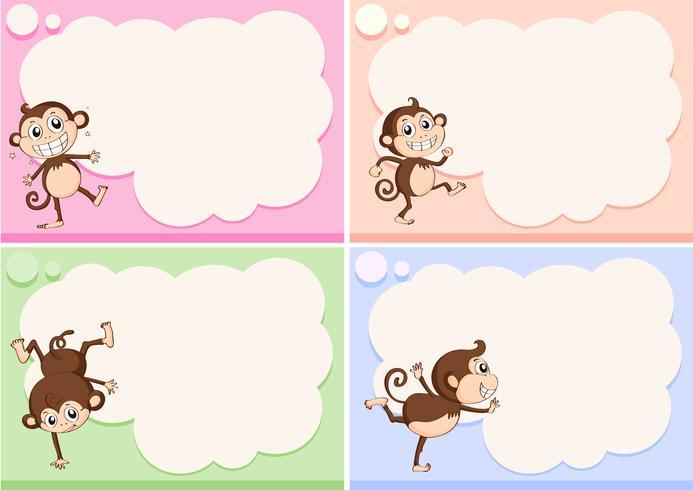 Plantillas de borde con pequeños monos