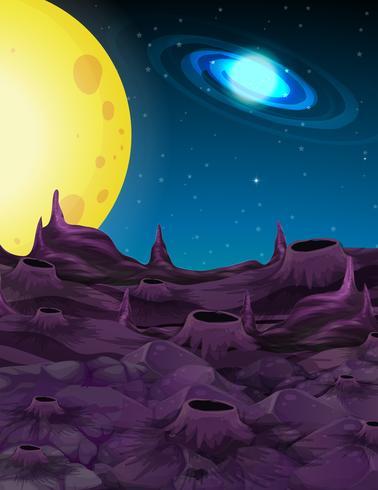 Rymdbakgrund med gul måne