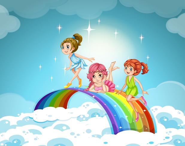 Feeën vliegen over de regenboog
