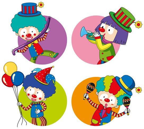 Aufklebervorlagen mit fröhlichen Clowns