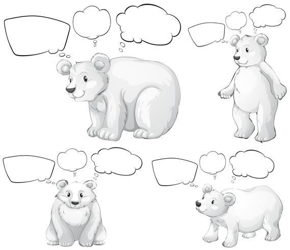 Oso polar y burbujas de discurso vector