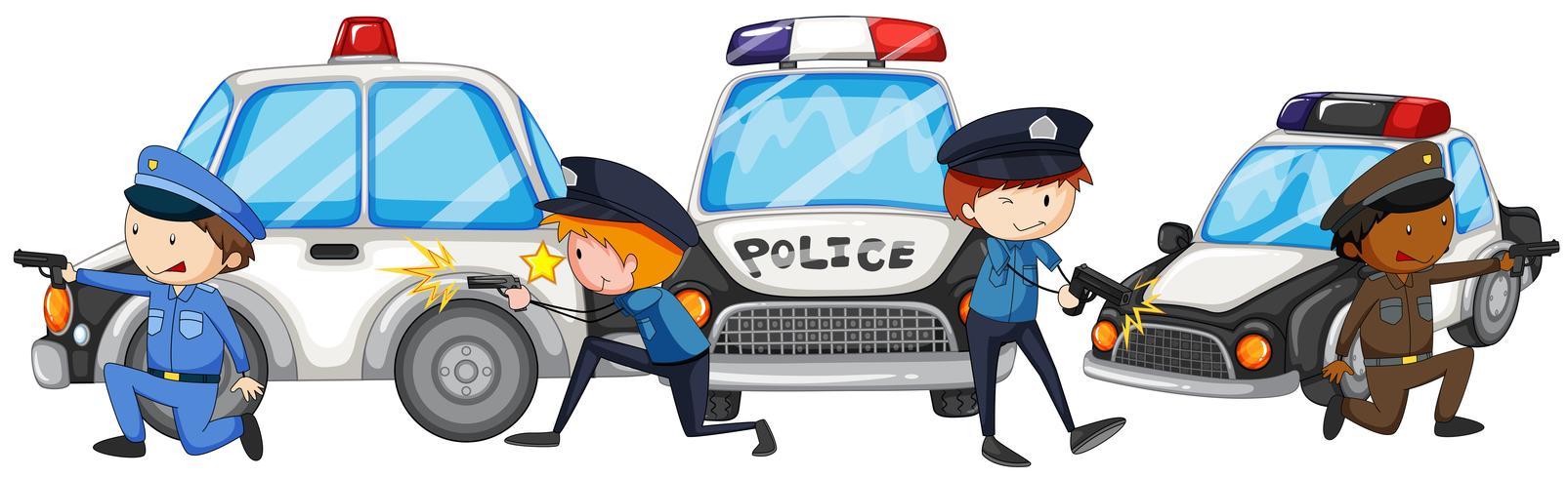 Policía con pistola junto a los coches de policía.