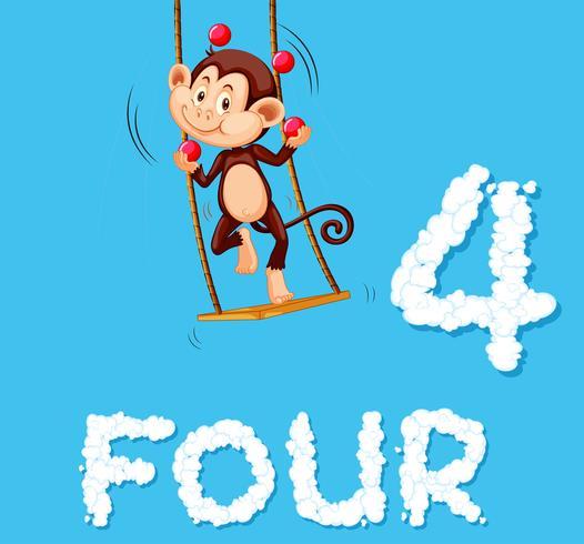 Una scimmia giocoleria quattro palle