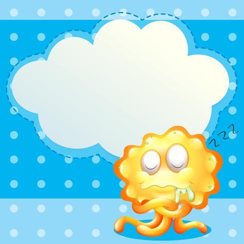 Ein schlafendes orange Monster vor der leeren Wolkenschablone