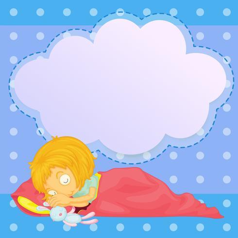 Una jovencita durmiendo con un anuncio vacío. vector