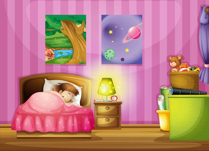 a girl and a bedroom vector