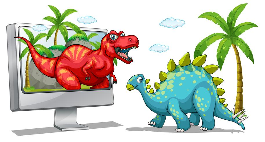 Computerscherm met twee dinosaurussen vector