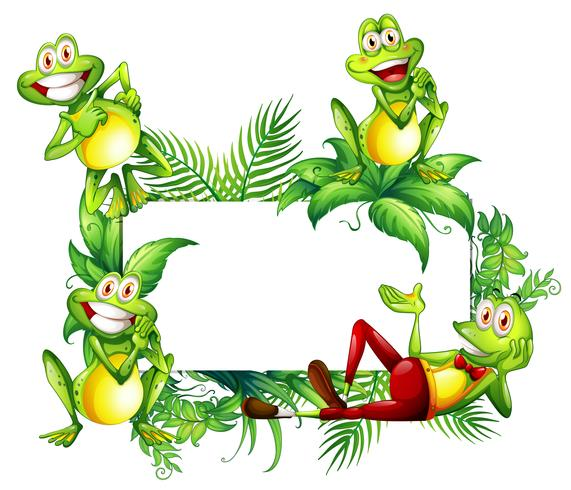 Border template with happy frogs