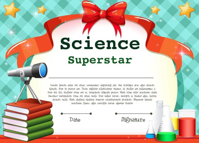 Plantilla de certificado para la asignatura de ciencias.
