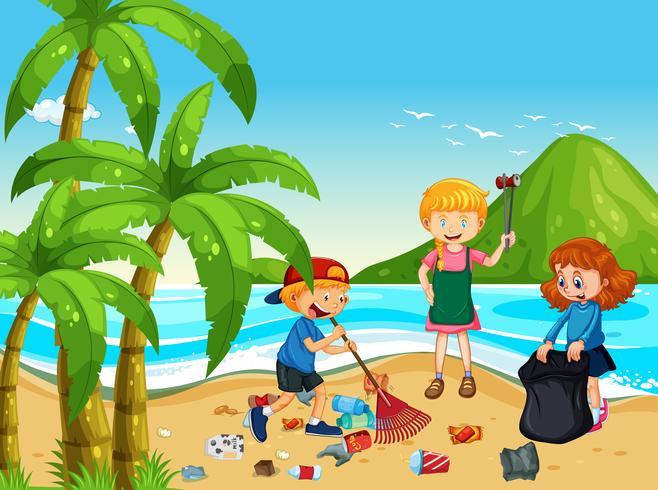 Un grupo de niños voluntarios limpiando la playa vector