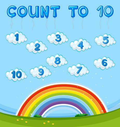 Math worksheet with counting to ten with rainbow in sky