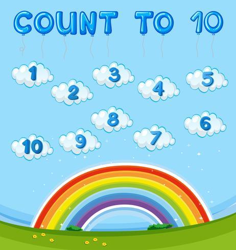 Feuille de calcul avec compter jusqu'à dix avec arc-en-ciel dans le ciel