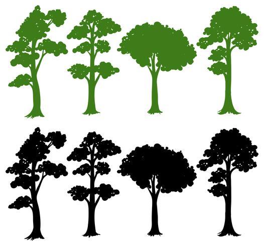 Set von Silhouette Baum
