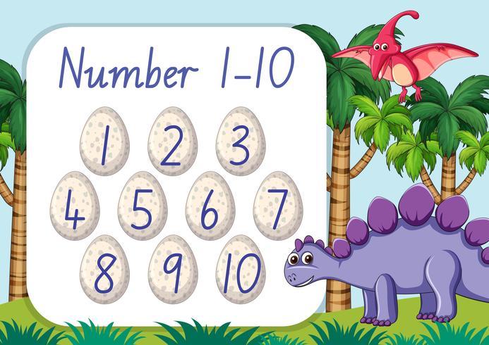 Zähle Nummer eins bis zehn Dinosaurier-Thema