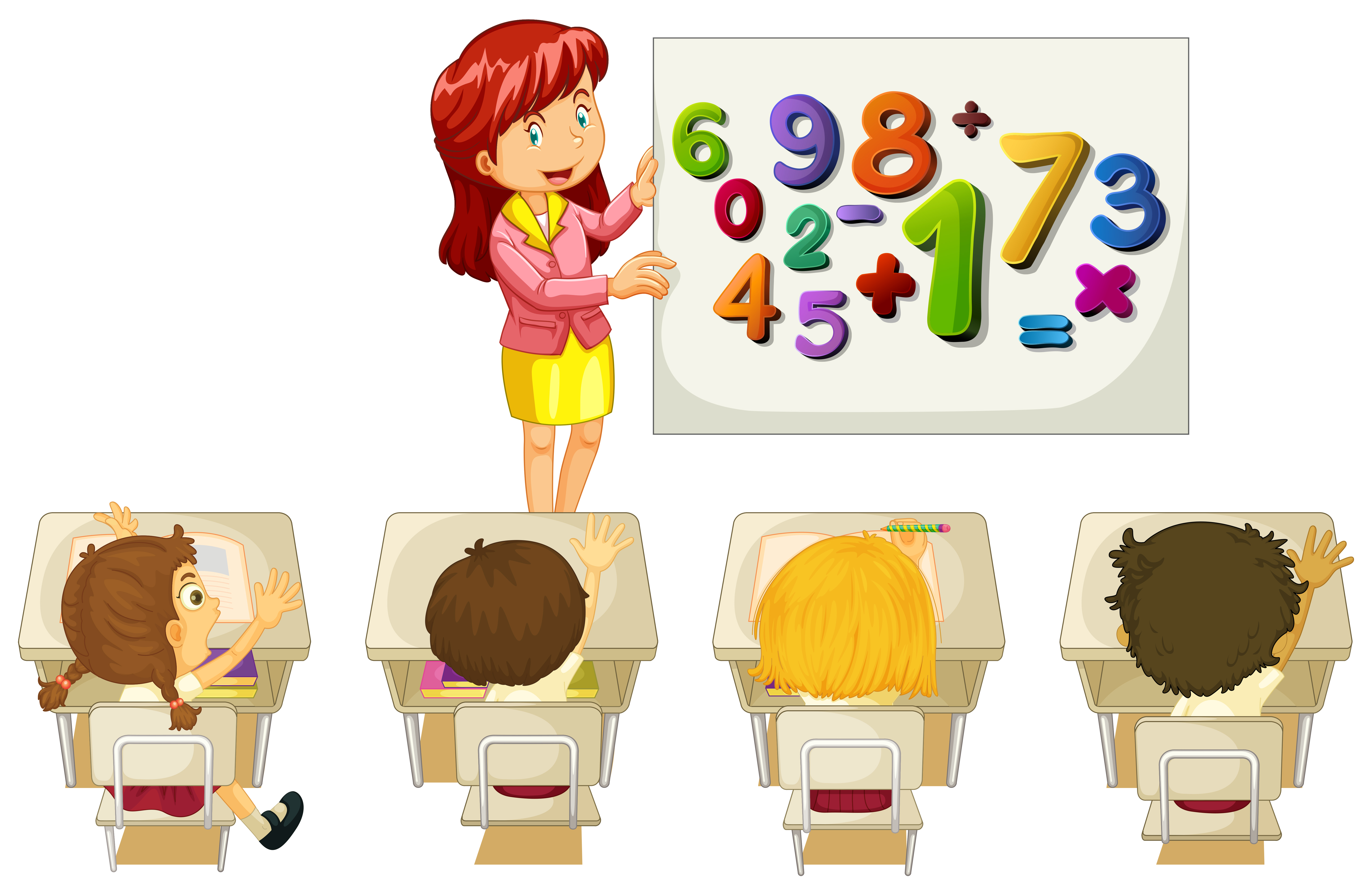 Students learning math in classroom - Download Free ...