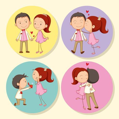 Casal de amor no crachá redondo
