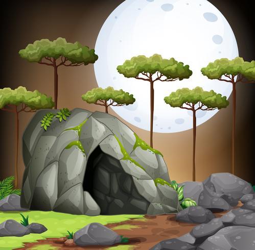Escena de la naturaleza de la cueva en la noche de luna llena
