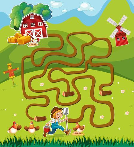 Plantilla de juego con el granjero en el corral vector