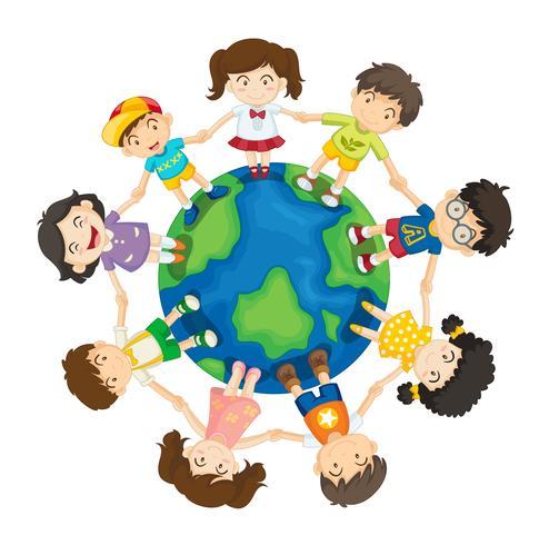 Kids around the world vector
