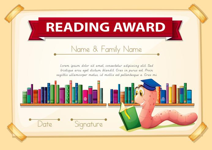 Certificatiesjabloonontwerp met boekenwurm