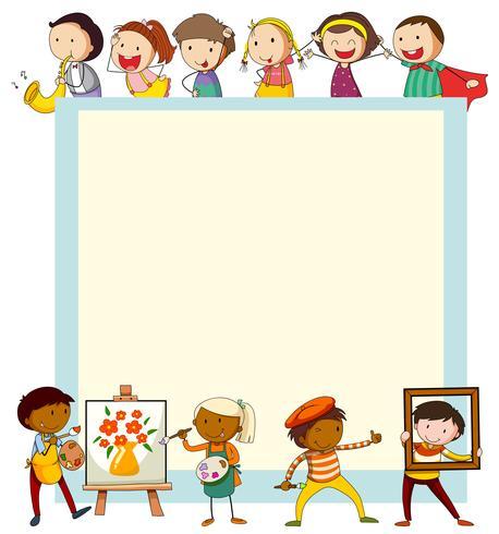Design de papel com crianças fazendo atividades