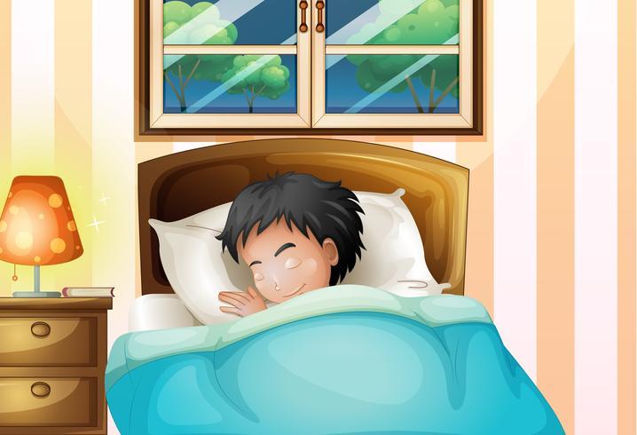 Un niño durmiendo profundamente en su habitación. vector