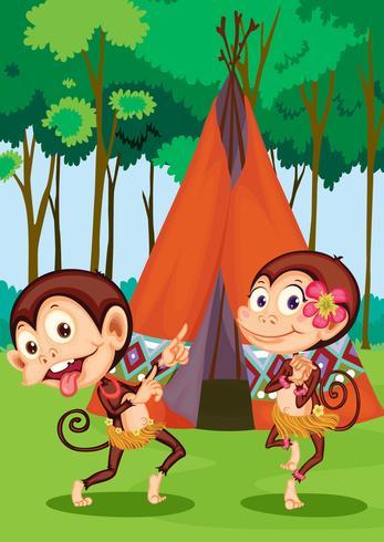 monos acampando vector