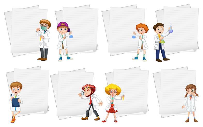 Line Papiervorlagen mit Menschen in weißen Kleidern