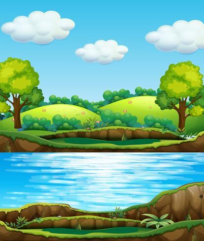 Una vista del agua natural. vector