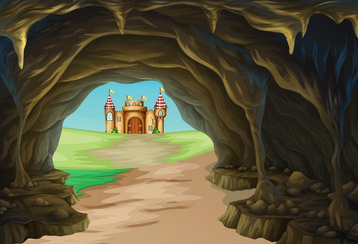 Vista de cueva y castillo vector