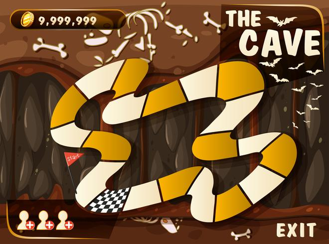 Spielvorlage mit Höhle und Fledermäusen