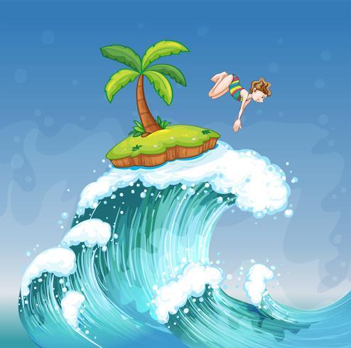 Una niña buceando en el mar con una pequeña isla.