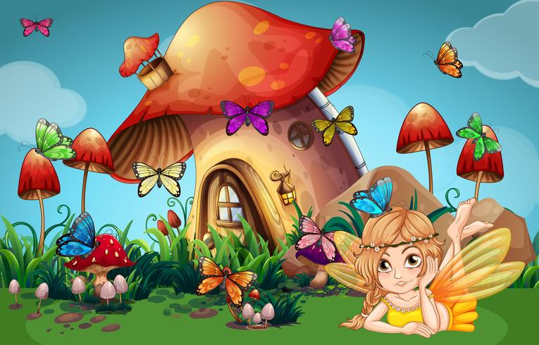 Fairy and butterflies at mushroom house